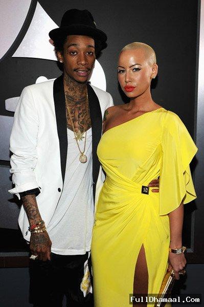 Amber Rose And Wiz Khalifa At 54th Grammy Awards Red Carpet