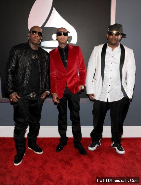 Birdman, Tyga And Mack Maine At Red Carpet 54th Grammy Awards