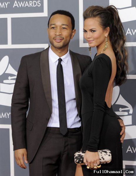 John Legend and Chrissy Teigen At Grammy Awards 2012