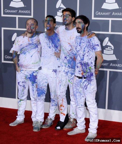 Band La Vida Boheme In Colorful Clothing's At Grammy Awards 2012