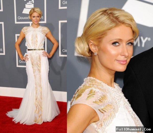 Paris Hilton At Los Angeles Grammy's 2012