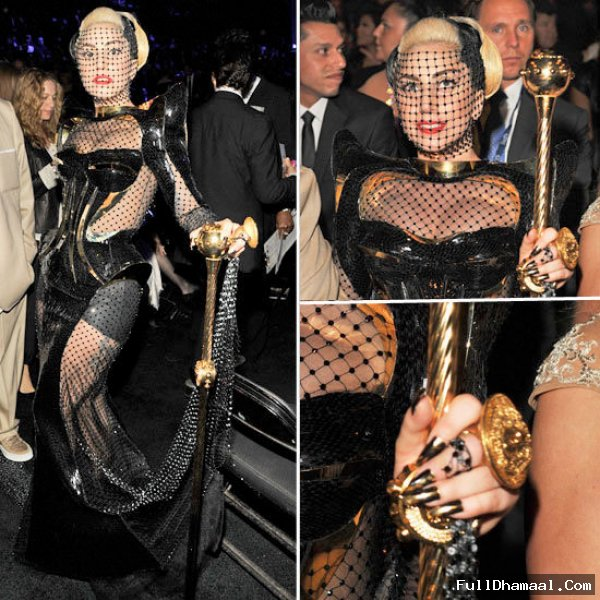 Lady Gaga In A Black Veiled Custom Versace Gown At 54th Los Angeles Grammy Awards 2012