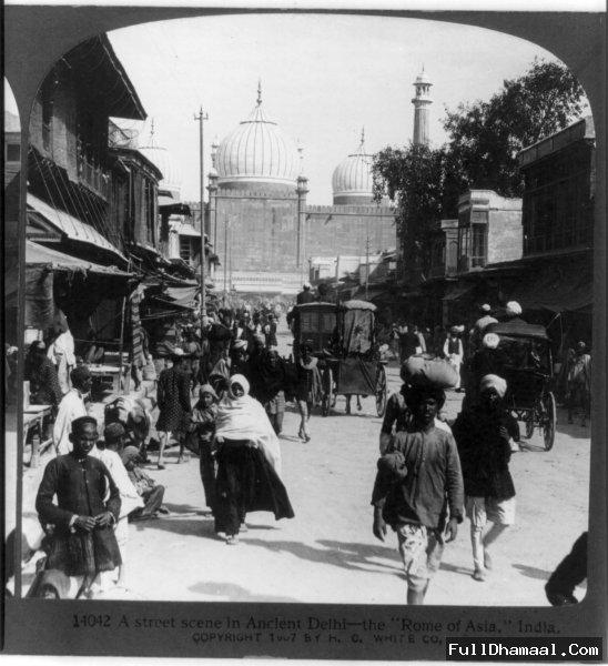 A Street Scene Of Jama Masjid Road From Year 1907