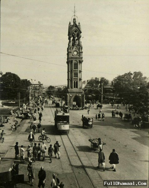 A 1870-1880 Year Photograph Showing Clock Tower And Tram Running At The Main Chandni Chowk Street