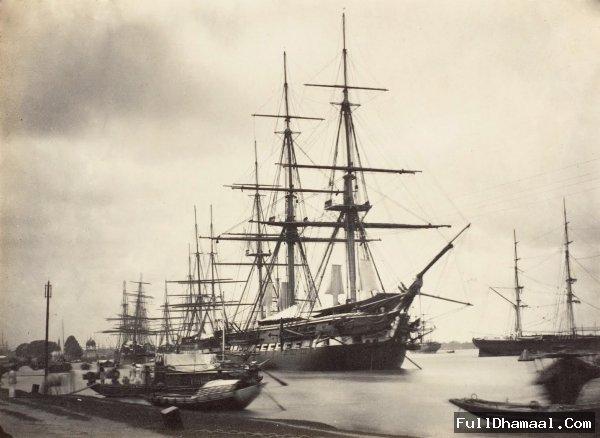 H.M.S. Shannon at Calcutta (Kolkata) - Mid 19th Century (between 1858 - 1861)