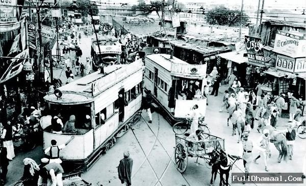 A rare early 19th century photograph of Chandni Chowk, when tram used to run over there.