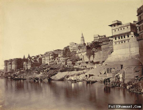 Photograph of the Ganges riverbank around Ram Ghat - Banares (Varanasi) 1869