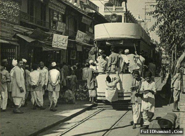 Tram Running in Chandni Chowks Street- From Year 1910
